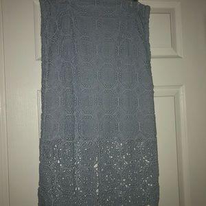 Zara baby blue lace midi skirt